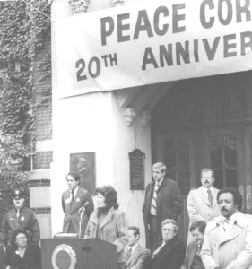 "Regent Sarah Goddard Power speaks in October 1980 during the 20th anniversary ""rededication"" ceremony for the Peace Corps on the steps of the Michigan Union, where President candidate John F. Kennedy first proposed the organization."